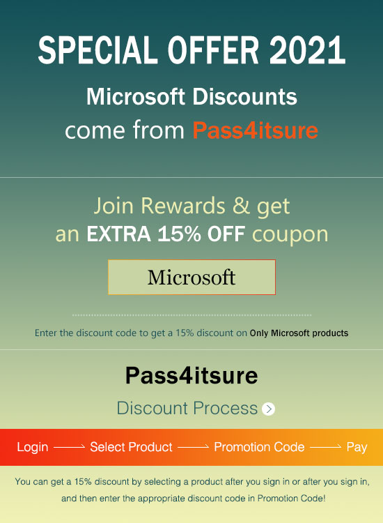 Pass4itsure Microsoft exam dumps discount code